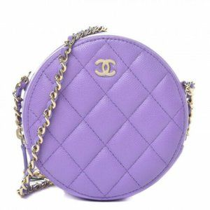 CHANEL Caviar Quilted Round Clutch With Chain